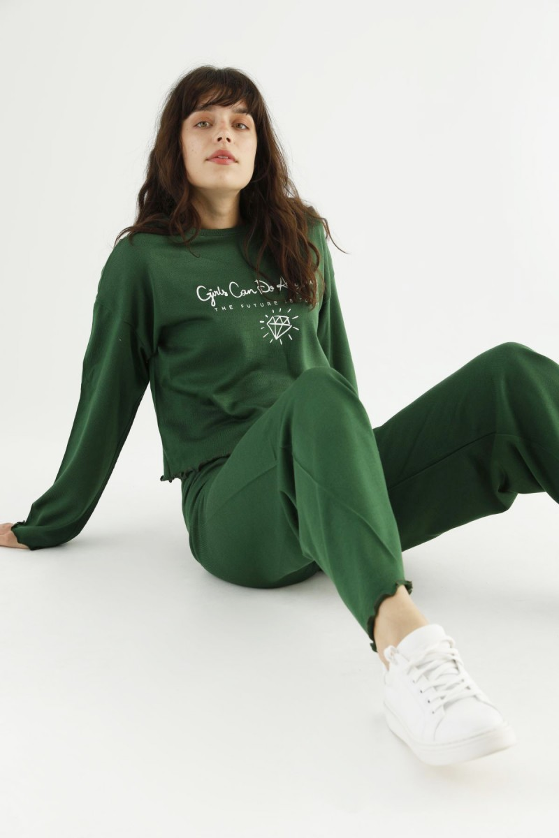 SİYAH İNCİ - Yeşil Alt-Üst Triko Takım 21278066