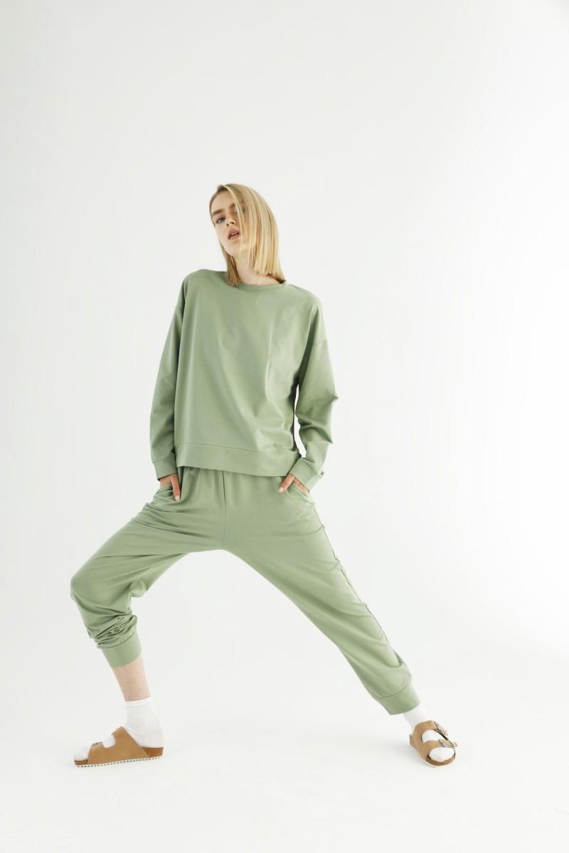SİYAH İNCİ - Yeşil Cepli Eşofman-Sweatshirt Takım 21278013