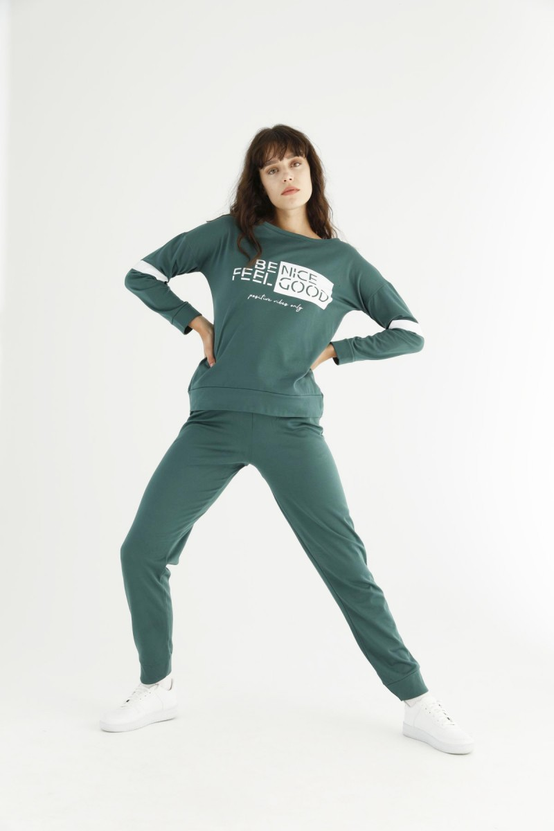 SİYAH İNCİ - Yeşil Eşofman-Sweatshirt Takım 21278140