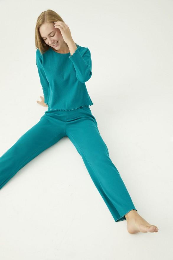 SİYAH İNCİ - Yeşil Pamuklu Likralı Kaşkorse Fitilli Pijama Takım